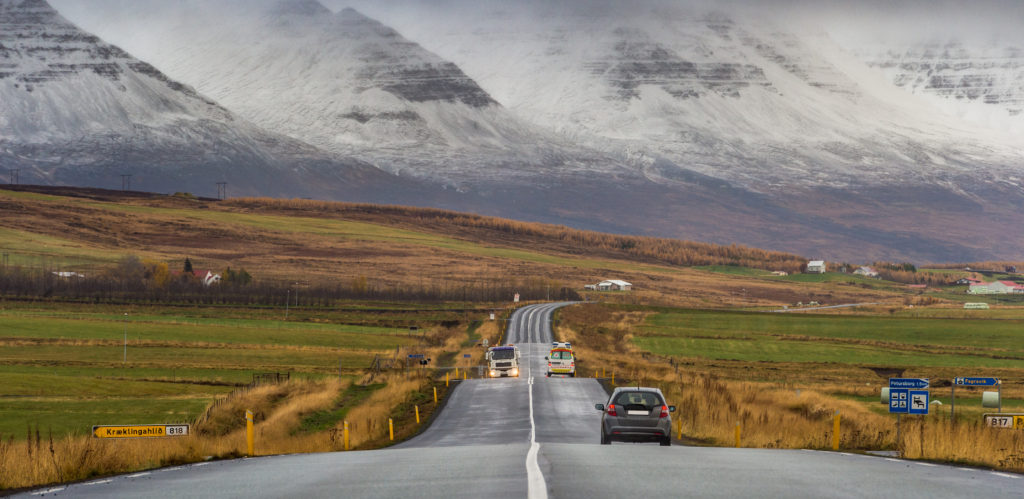 Perspective road with snow mountain range background autumn season Iceland