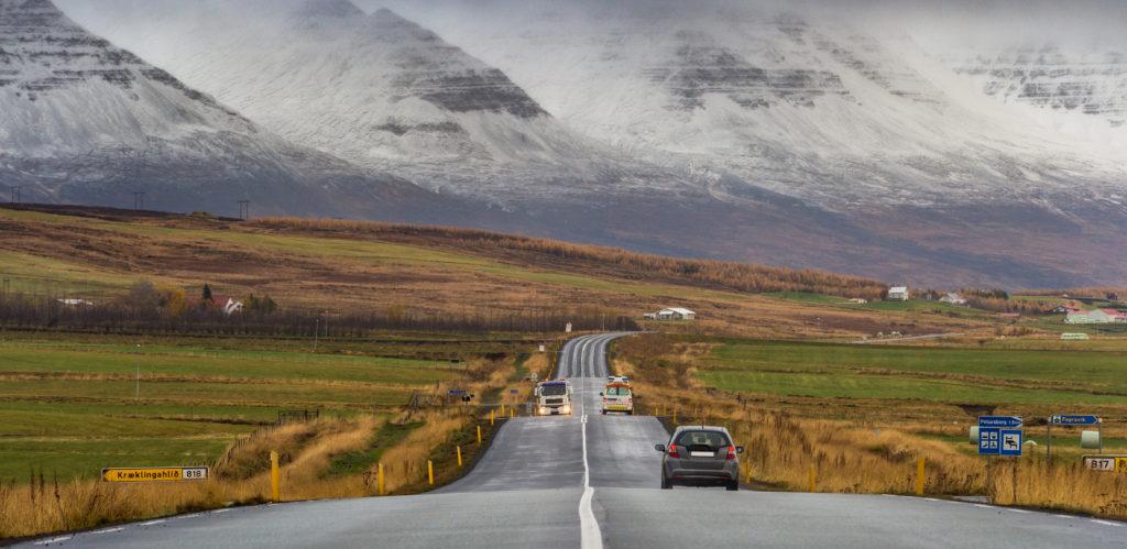 Perspective road with snow mountain range background autumn season Iceland
