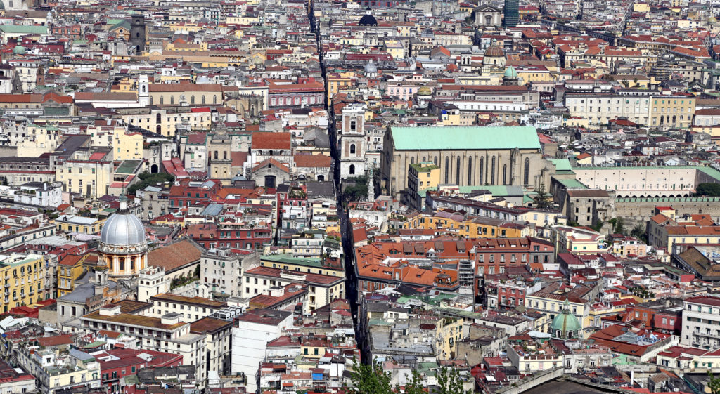 NAPLES, ITALY – April 12, 2014: Panorama of Naples. Naples is the capital of the Italian region Campania and the third-largest municipality in Italy.